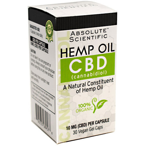 CBD, Hemp Oil Caps, 30 Vegan Gel Capsules, Absolute Nutrition