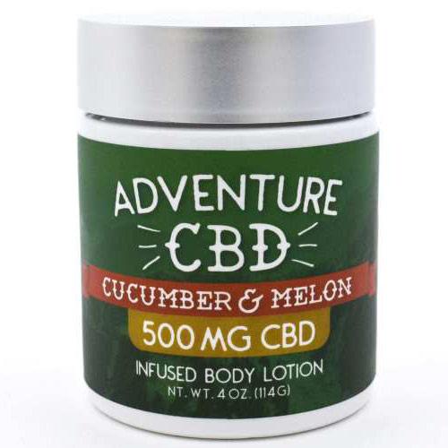 CBD Infused Body Lotion 500 mg - Cucumber Melon, 4 oz, Adventure CBD & Hemp