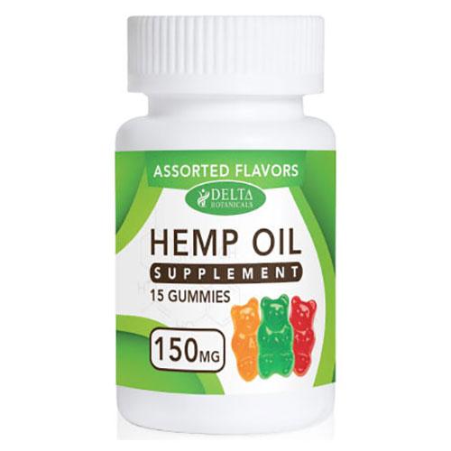 CBD Infused Gummy Bears, Hemp Oil Supplement, Assorted Flavors, 15 Gummies, Delta Botanicals