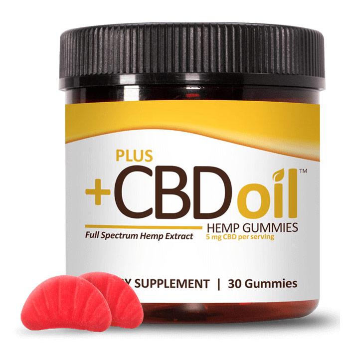 CBD Oil Gummies 5 mg, Cherry Mango, 30 ct, PlusCBD Oil