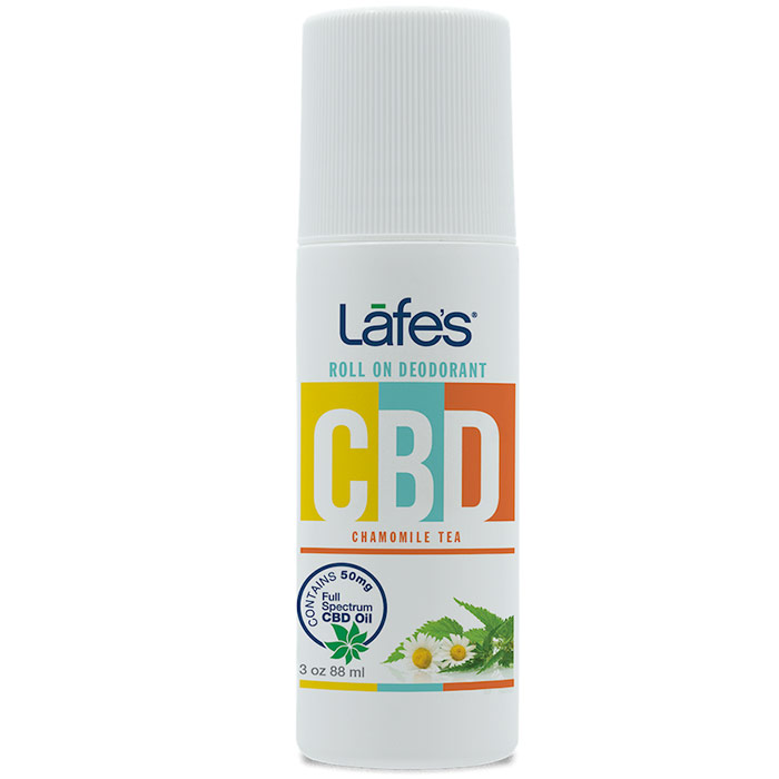 CBD Roll On Deodorant - Chamomile Tea, 3 oz, Lafe's Natural BodyCare
