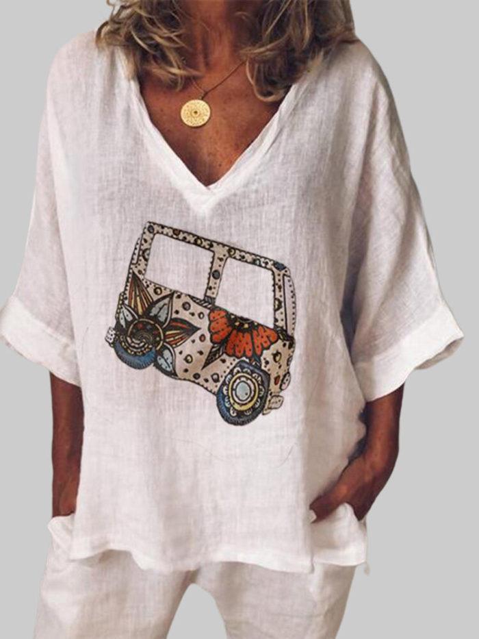 Cartoon Bus Print 3/4 Sleeve V-neck Loose Blouse For Women
