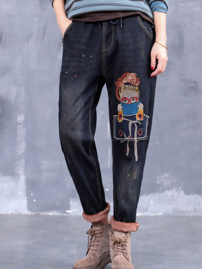 Cartoon Embroidered Ripped Drawstring Jeans For Women