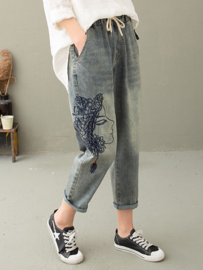 Cartoon Face Embroidery Drawstring Vintage Jeans For Women
