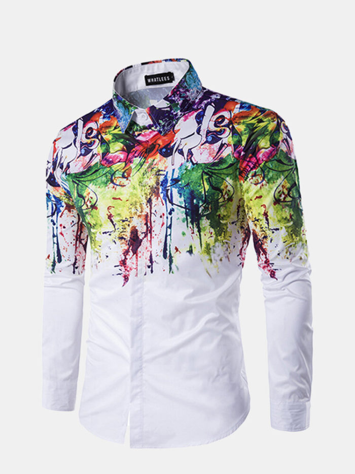 Casual Business Personality Flowers Spray Paint Long Sleeve Ink Splash Shirts for Men