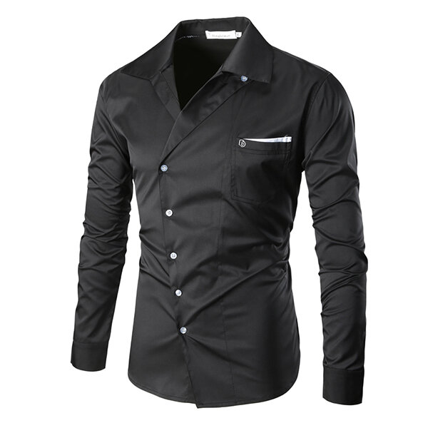 Casual Business Pocket Solid Color Band Collar Designer Shirts for Men