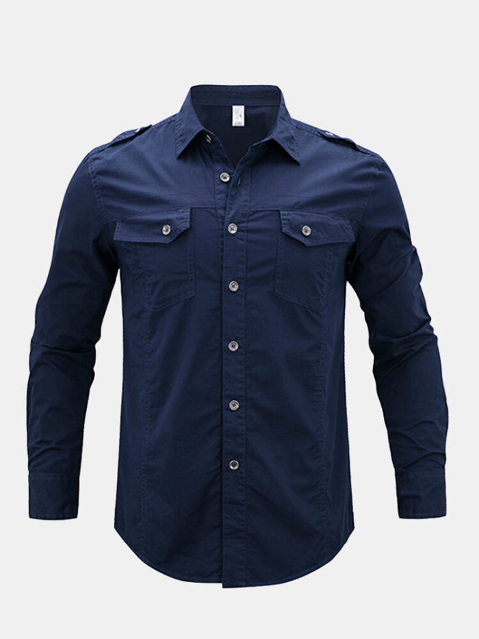 Casual Double Chest Pockets Military Epaulet Design Cotton Shirt for Men