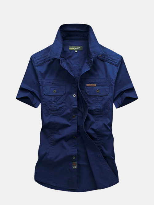 Casual Double Chest Pockets Short Sleeve Cotton Work Shirts for Men