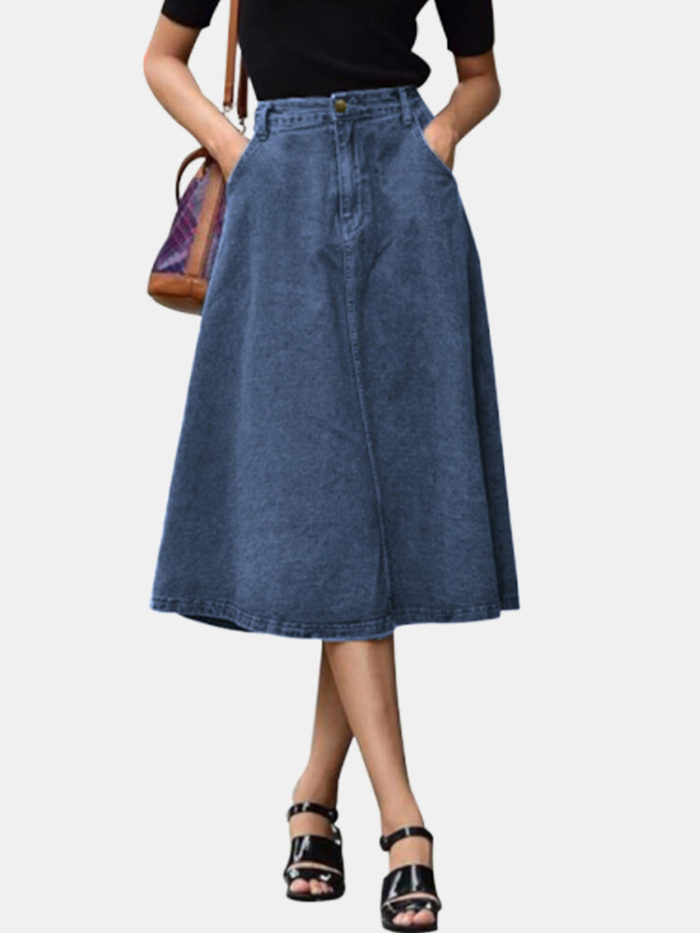 Casual High Waist Solid Color Plus Size Denim Skirt with Pockets