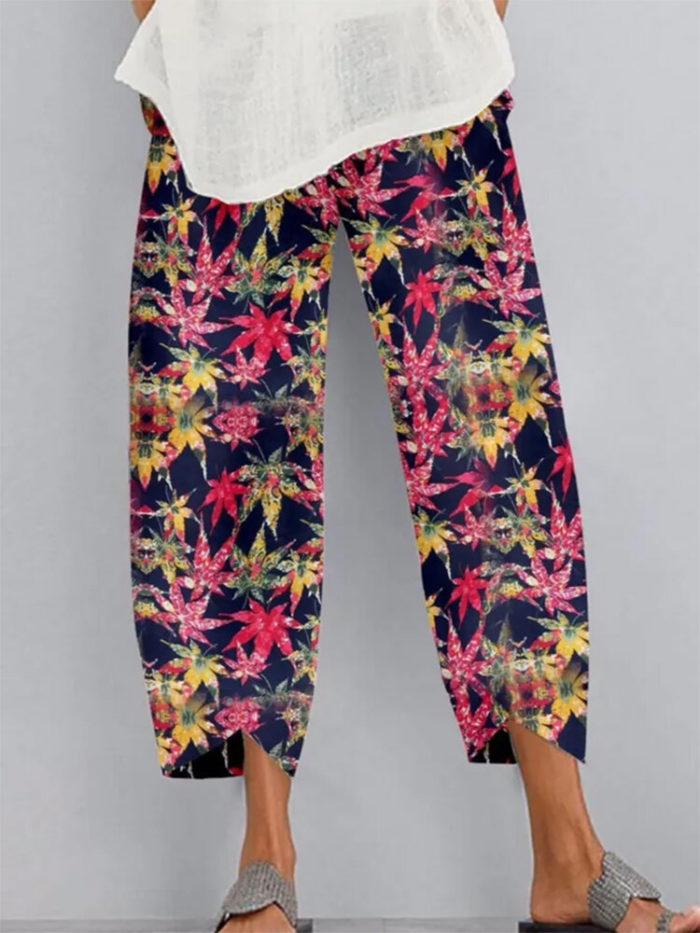 Casual Maple Leaves Print Elastic Waist Plus Size Pants
