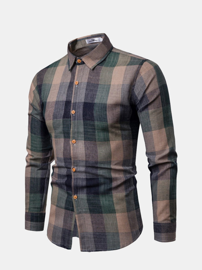 Casual Plaid Turn Down Collar Slim Fit Long Sleeve Button Down Shirt for Men