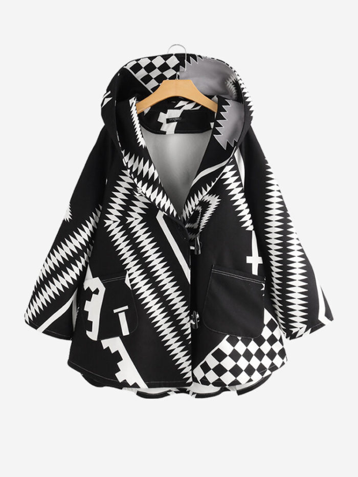 Casual Print Geometric Horn Button Winter Hooded Coat