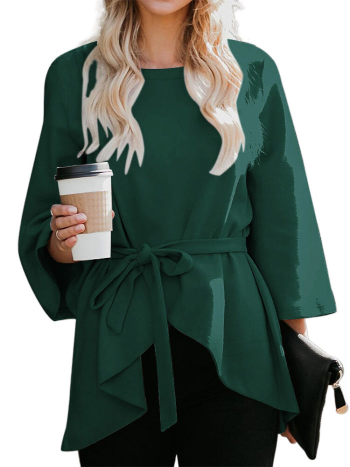 Casual Solid Color Crew Neck Woolen Blouse With Belt