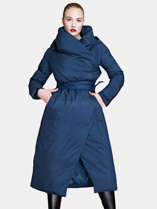 Casual Solid Color Hooded Long Down Coat for Women