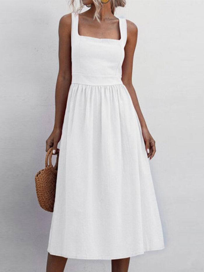 Casual Solid Color Plus Size Straps Plus Size Dress