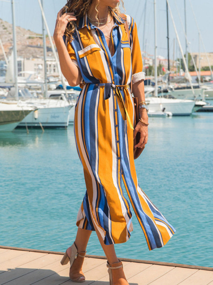 Casual Striped Patchwork Long Sleeve Lacing Women Button Dress