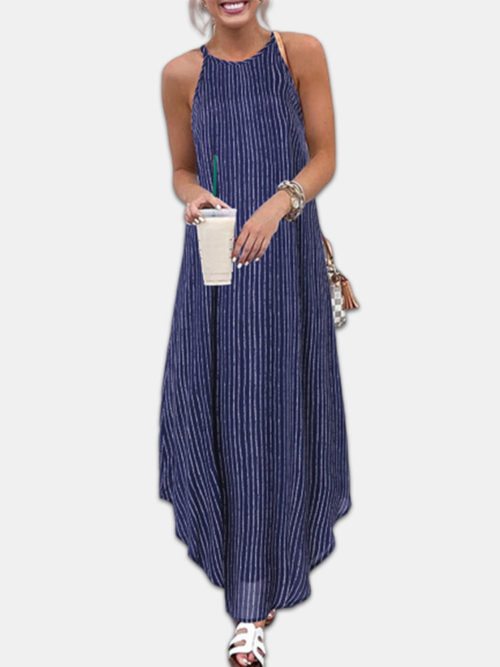 Casual Striped Spaghetti Straps Arc Hem Plus Size Maxi Dress
