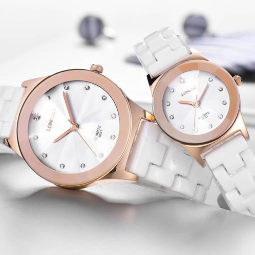 Casual Unisex Quartz Wrsit Watch White Ceramic Diamond Waterproof Couple Watch for Women Men