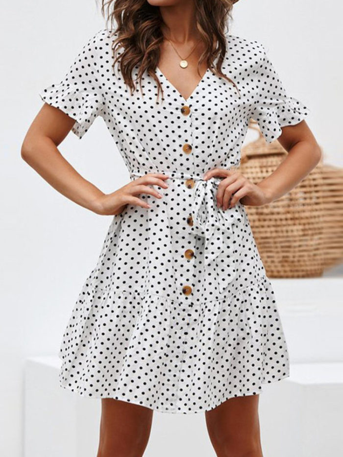 Casual V-neck Polka Dots Lace-up Print Dress