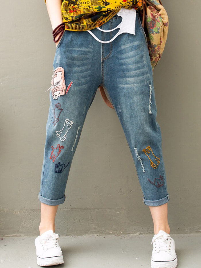 Cat Embroidered Patch Elastic Waist Jeans For Women