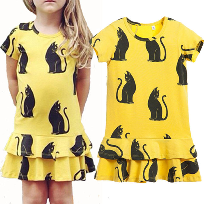 Cat Pattern Toddler Girls Casual School Fish Tail Princess Dress For 2Y-9Y