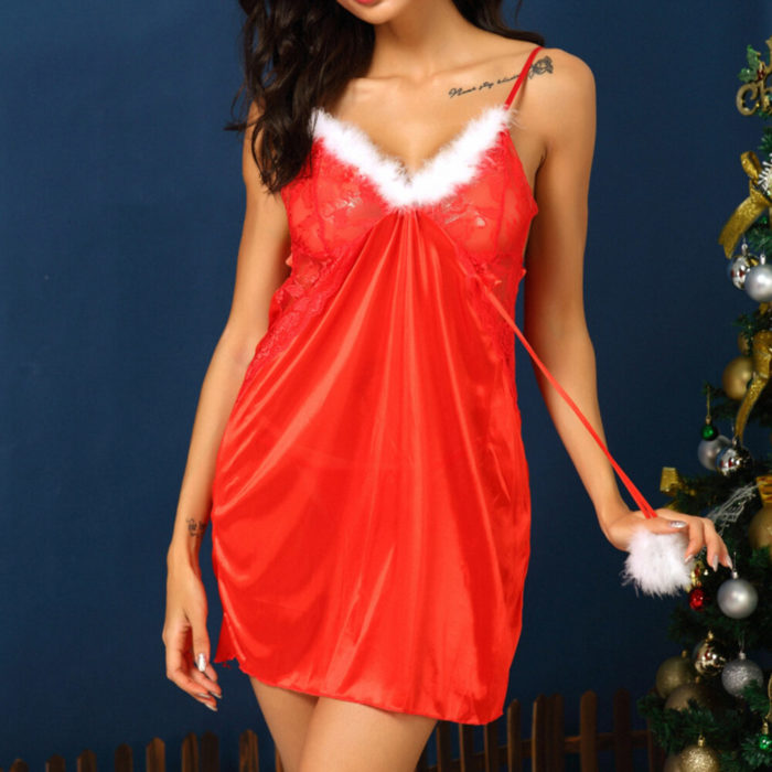 Christmas Embroidery Sexy Lingerie V-Neck Backless Chemises