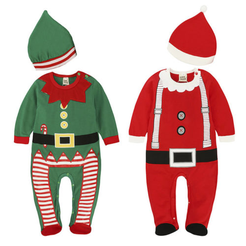 Christmas Party Unisex Baby Fleece Long Sleeve Romper For 6-36M