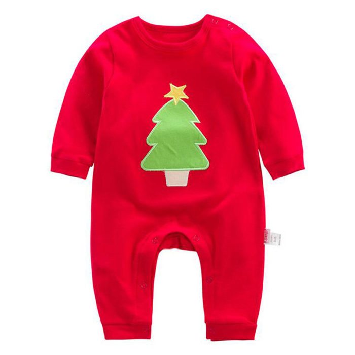 Christmas Style Solid Cotton Baby Long Sleeve Romper For 0-24M