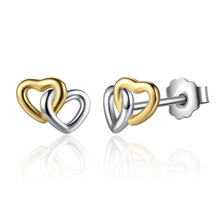 Classic Double Heart 925 Sterling Silver Stud Earrings Sweet Heart Anallergic Earrings for Women