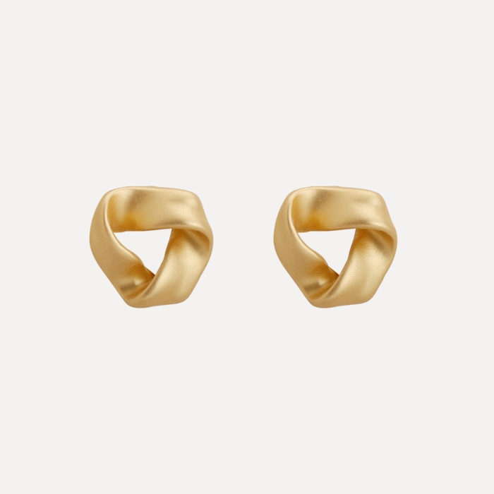 Classic Matte Gold Piercing Stud Earrings Anallergic 925 Sterling Silver Geometric Womens Earrings