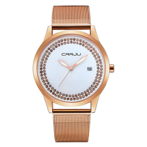 Classic Steel Band Minimalist Womens Watches Diamond Dial Date Calendar Waterproof Quartz Watches