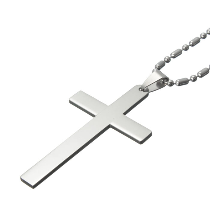 Classic Vintage Stainless Steel Cross Pendant Necklace