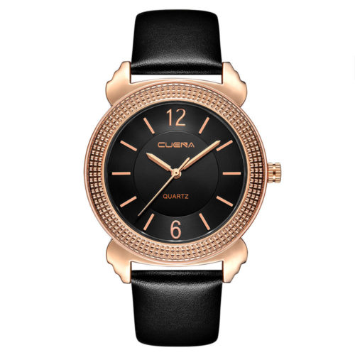 Classic Womens Quartz Watches Luxury Genuine Leather Band Life Waterproof Rose Gold Big Dial Watches