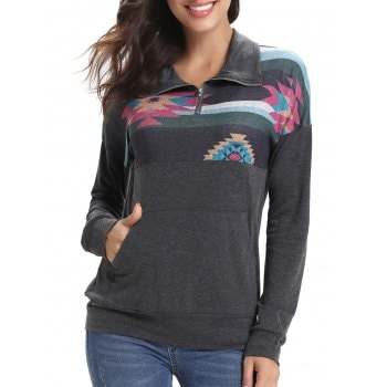 Color Block Front Pocket Half Zipper Sweatshirt