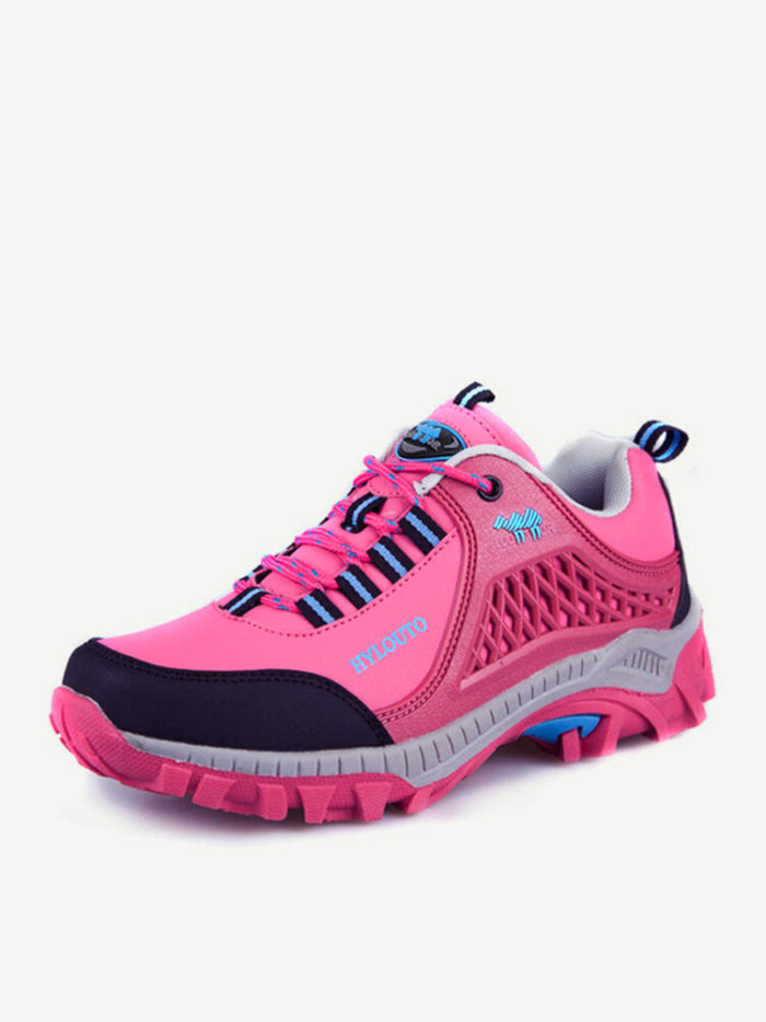 Color Match Anti Skip Toe Protecting Lace Up Outdoor Hiking Shoes