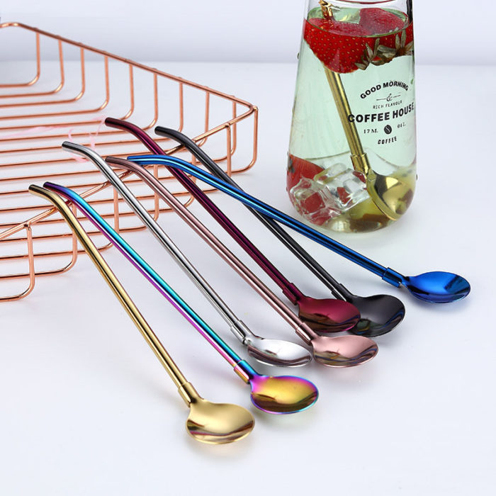 Colorful Reusable 2 In 1 Drinking Straws Spoon Stainless Steel Metal Straws Cocktail Milk Coffee