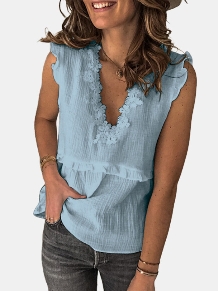 Corchet Lace Patchwork Sleeveless Casual Blouse For Women