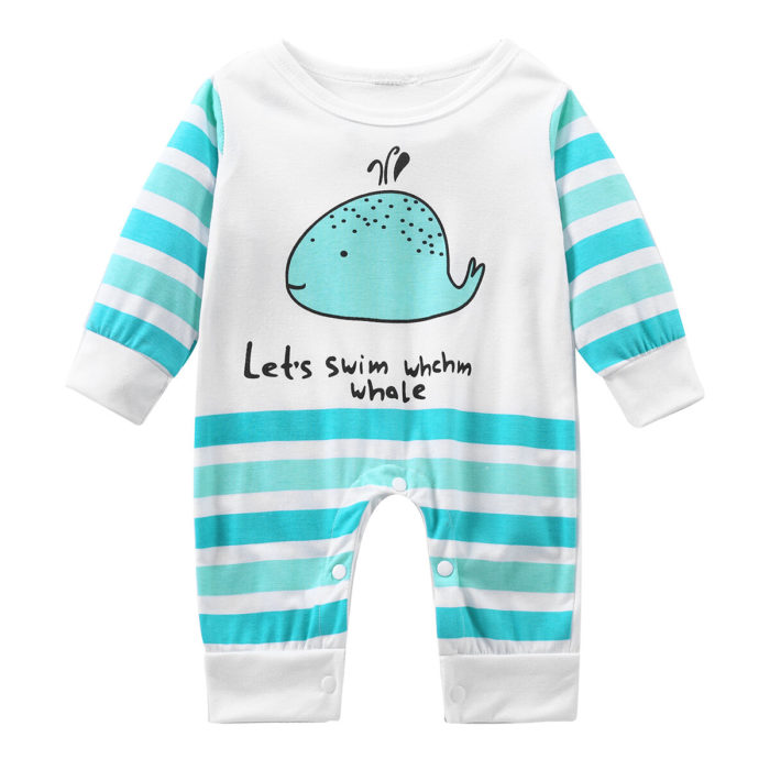Cute Animal Pattern Comfy Baby Long Sleeve Romper For 0-24M