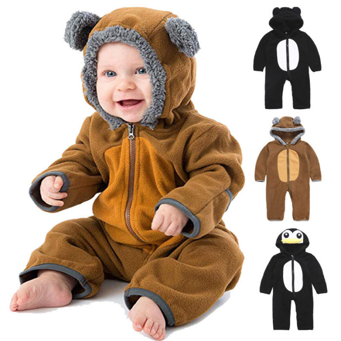 Cute Animal Shaped Baby Zipper Hooded Jumpsuit For 0-24 Months