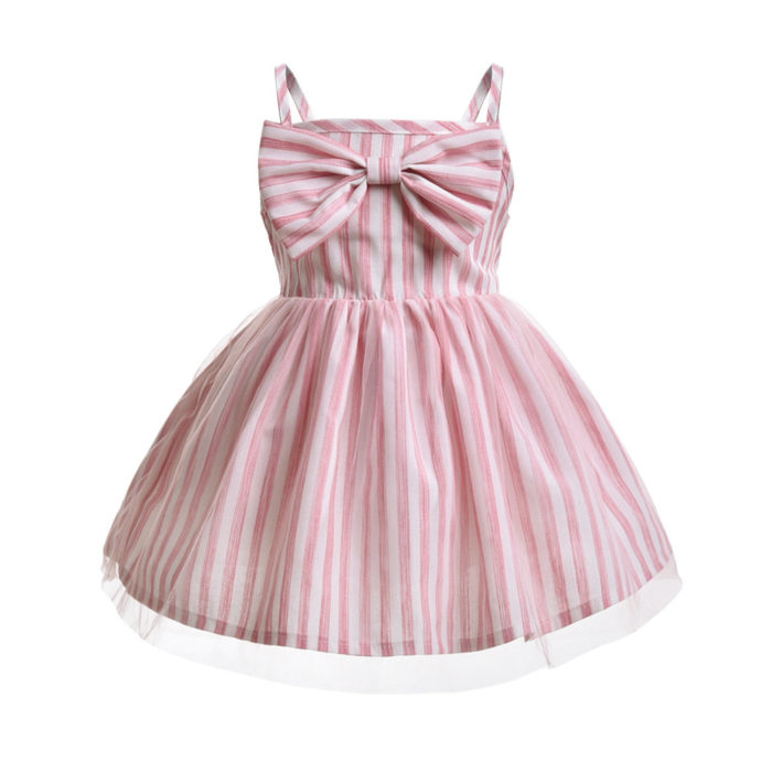 Cute Bowknot Girls Striped Sleeveless Casual Dress For 1Y-9Y