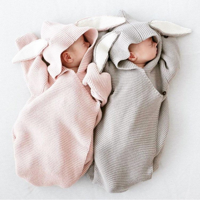 Cute Bunny Shaped Knitted Baby Sleepbag Robe For 0-12M