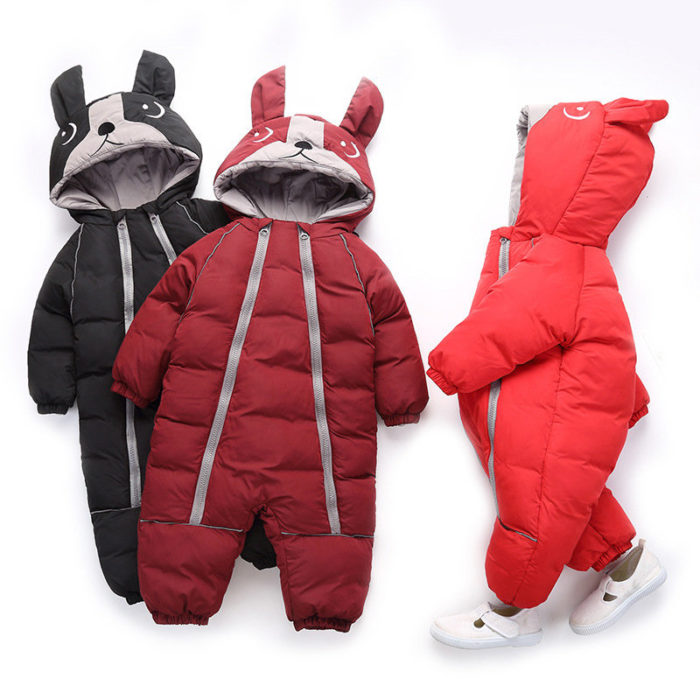 Cute Dog Shape Girls Boys Down Jumpsuit Thick Coat For 1Y-5Y
