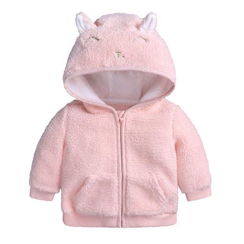 Cute Ear Baby Girls Boys Hooded Coats Fleece Outerwear For 0-36M
