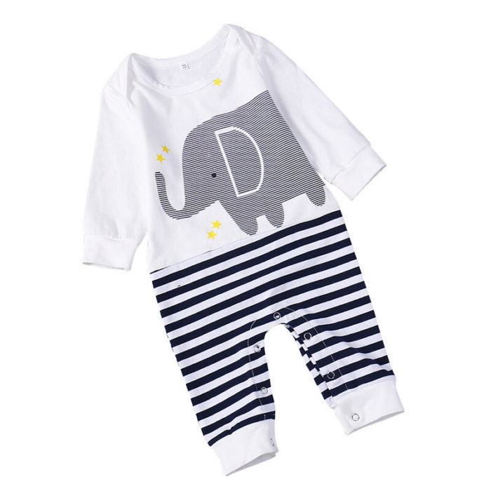 Cute Elephant Pattern Long Sleeve Unisex Baby Romper For 0-24M