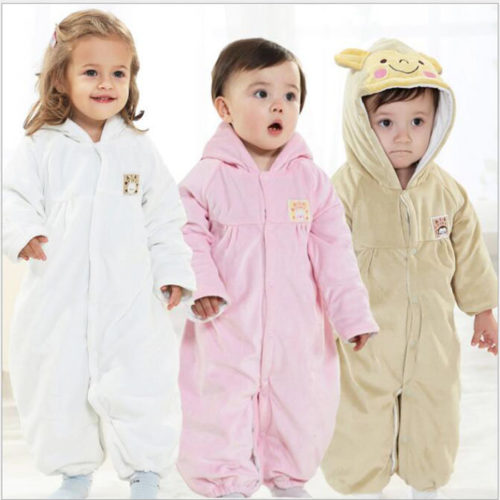 Cute Fleece Unisex Baby Long Sleeve Hooded Jumpsuit For 0-24M