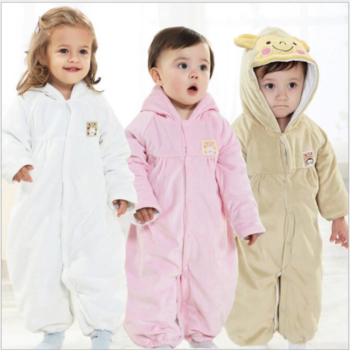 Cute Fleece Unisex Baby Long Sleeve Hooded Jumpsuit For 0-24M