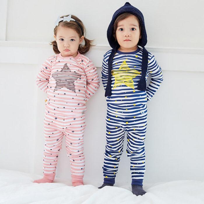 Cute Star Printed Children Kids Pajamas Clothing Set Boys Girls Sleepwear Suit Set