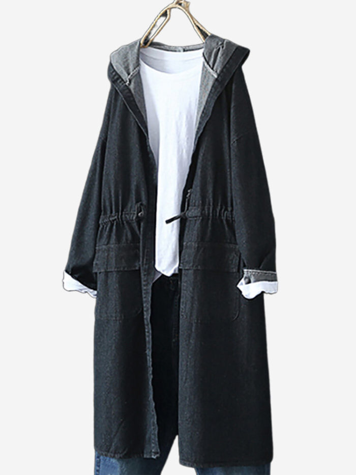 Denim Solid Color Hooded Trench Coat