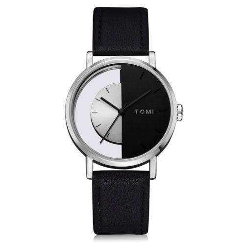 Designer Unisex Leather Minimalist Watches Perspective Dial Semicircle Quartz Watches for Men