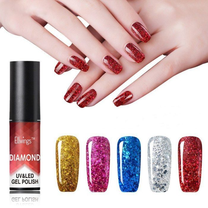 Diamond Nail Gel Polish Metal Sequins Gel Polish Need UV/ LED Lamp Nail Art 20 Color For Choice
